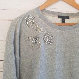 J.Crew gray sweater w/rhinestones & embroidery S